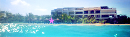view of the Residencias Reef complex from the waters of Caribbean.  With the condos beachfront location marked with a star.